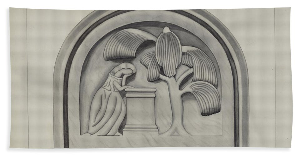 Beach Towel featuring the drawing Carving For A Tombstone by Gordena Jackson