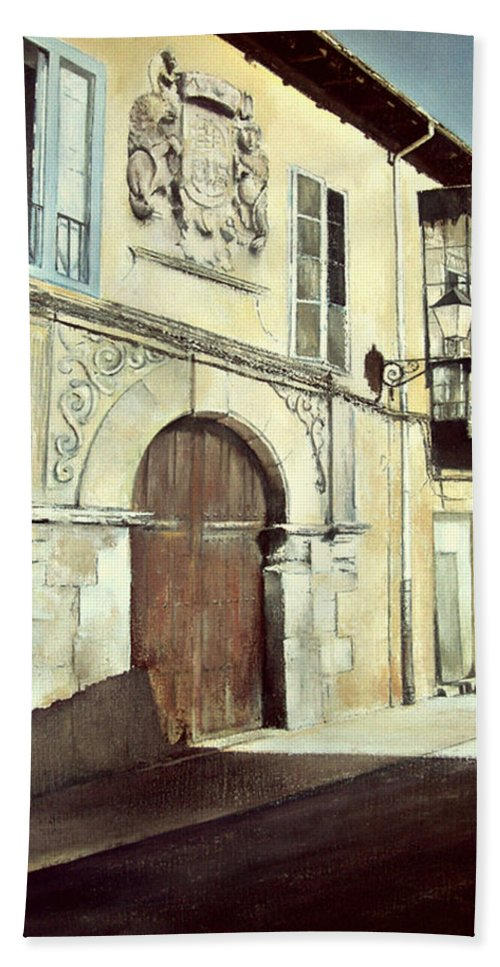 Casa Beach Towel featuring the painting Casa palaciega en calle Serranos-leon by Tomas Castano