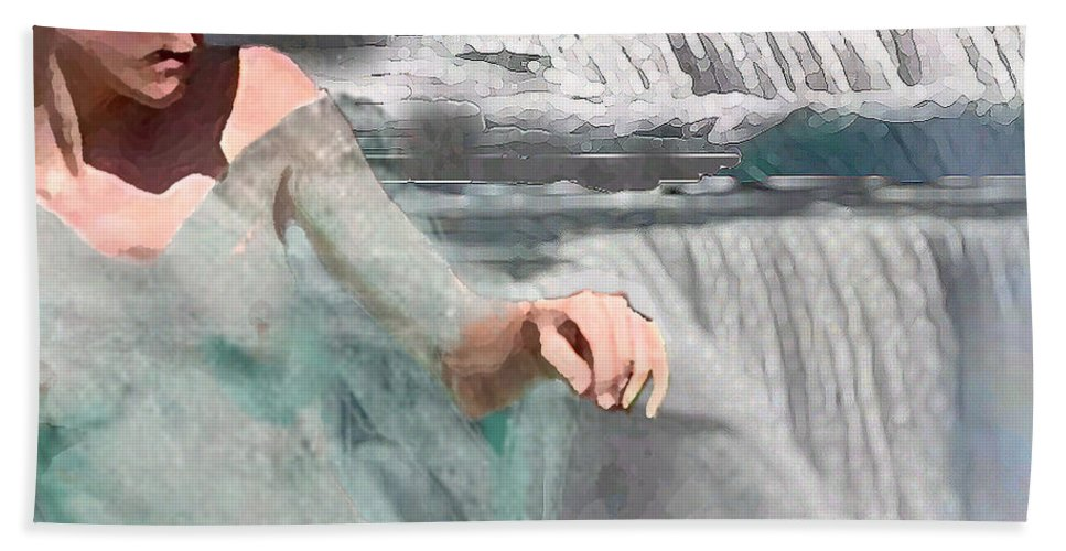 Waterscape Beach Towel featuring the digital art Cascade by Steve Karol