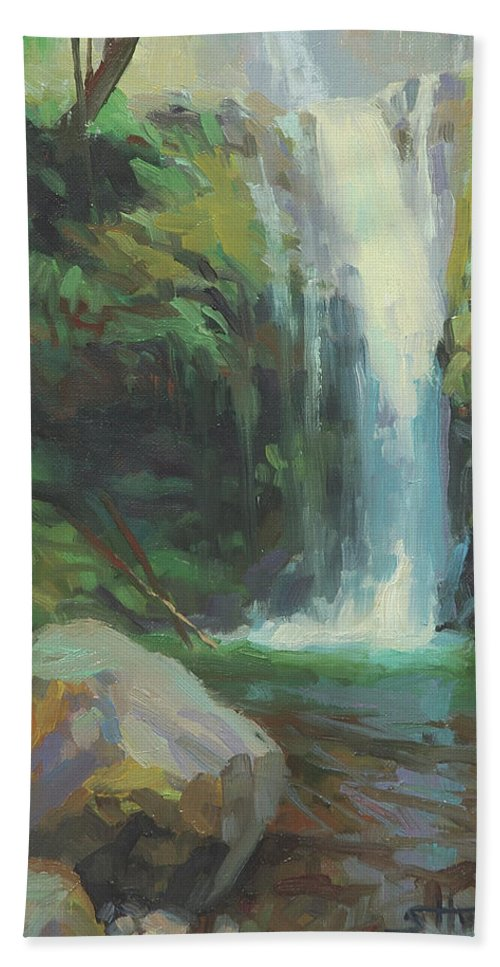 Waterfall Beach Towel featuring the painting Cascadia by Steve Henderson