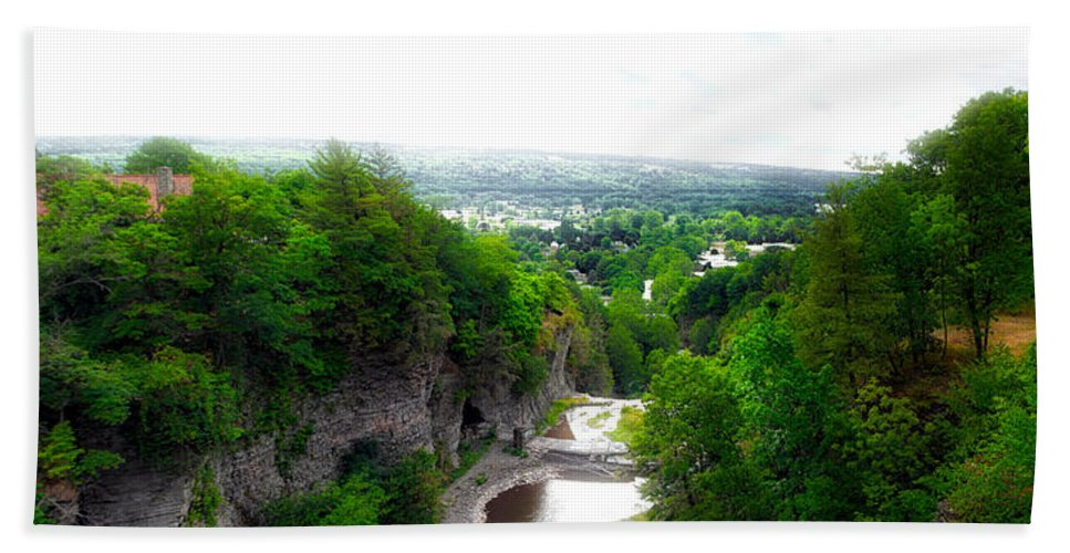 Cornell University Beach Towel featuring the photograph Cascadilla Gorge Cornell University Ithaca New York Panorama by Thomas Woolworth