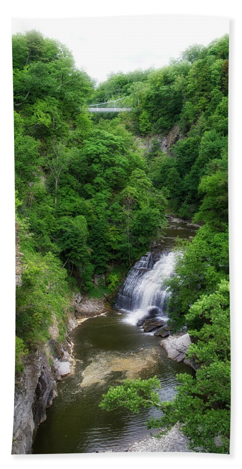 Cornell University Beach Towel featuring the photograph Cascadilla Waterfalls Cornell University Ithaca New York 01 by Thomas Woolworth
