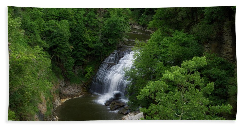 Cornell University Beach Towel featuring the photograph Cascadilla Waterfalls Cornell University Ithaca New York 02 by Thomas Woolworth