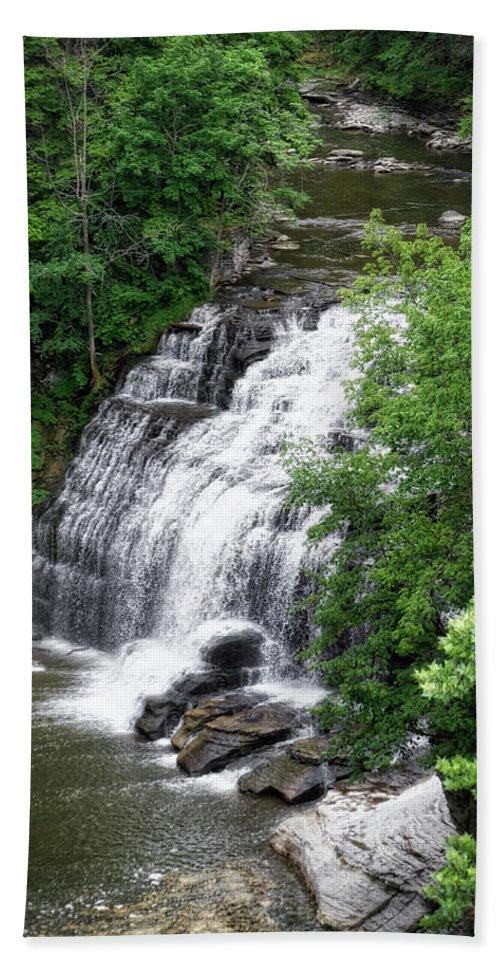 Cornell University Beach Sheet featuring the photograph Cascadilla Waterfalls Cornell University Ithaca New York 03 by Thomas Woolworth