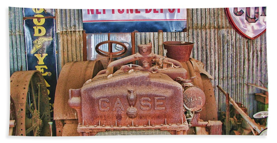 Case Tractor 1918-1929 Beach Towel featuring the photograph Case Tractor 1918-1929 by Douglas Barnard