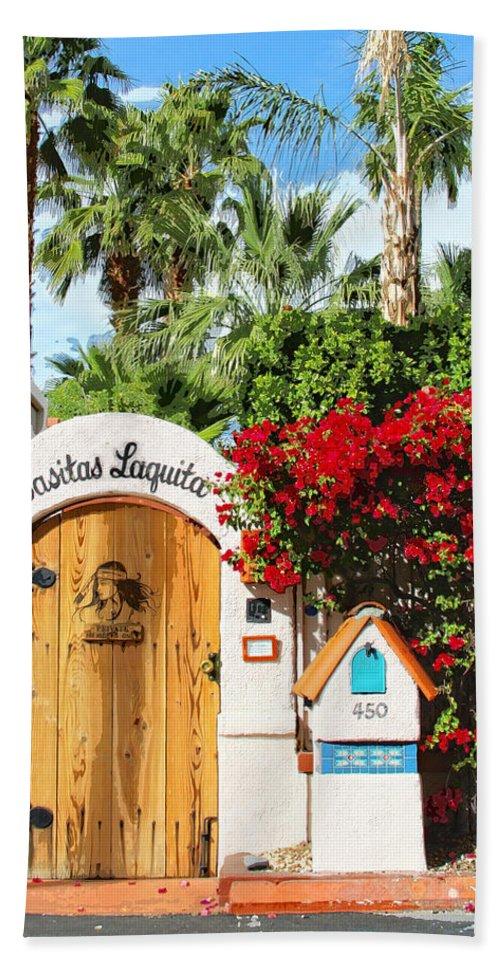 Casitas Beach Towel featuring the photograph Casitas Laquita Palm Springs by William Dey
