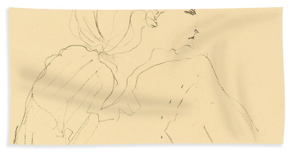 Beach Towel featuring the drawing Cassive by Henri De Toulouse-lautrec
