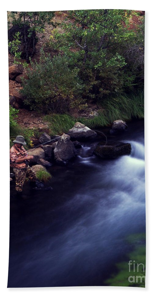 Fishing Beach Towel featuring the photograph Casting Softly by Peter Piatt