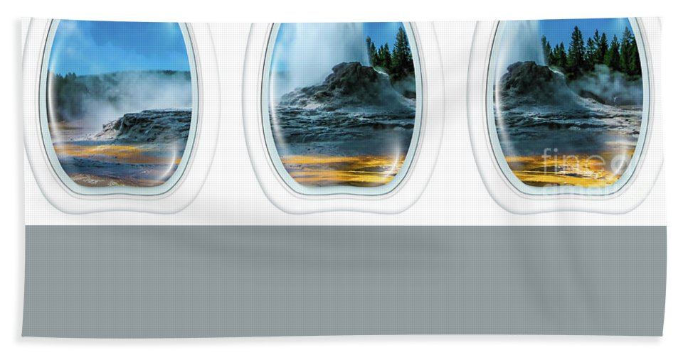 Yellowstone Beach Towel featuring the photograph Castle Geyser Portholes by Benny Marty