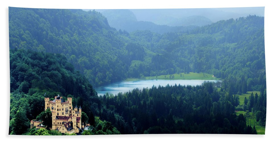 Castle Beach Towel featuring the photograph Castle Hohenschwangau 2 by Wolfgang Stocker