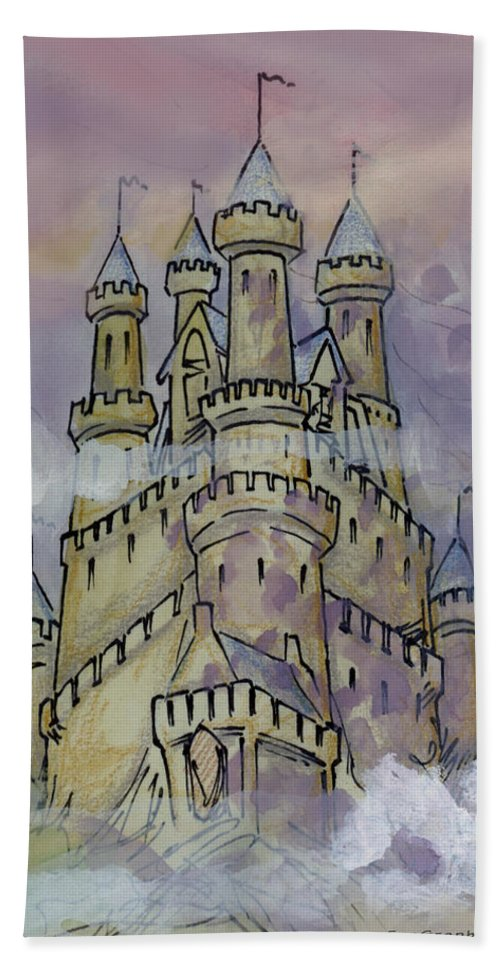 Castle Beach Towel featuring the greeting card Castle by Kevin Middleton