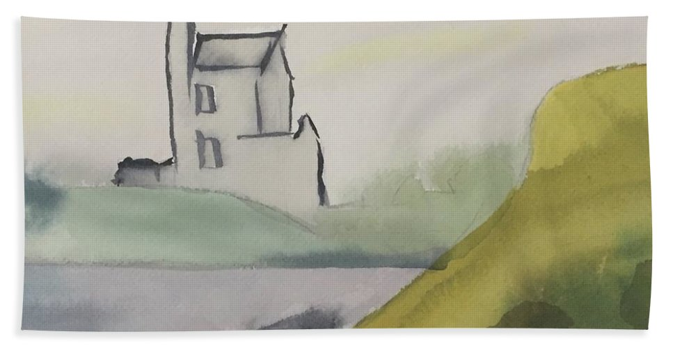 Castle Beach Towel featuring the painting Castle On The Hill by Alice Singer