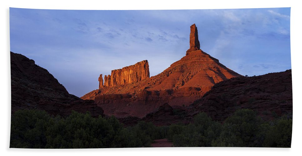 Castle Valley Beach Towel featuring the photograph Castle Towers by Chad Dutson