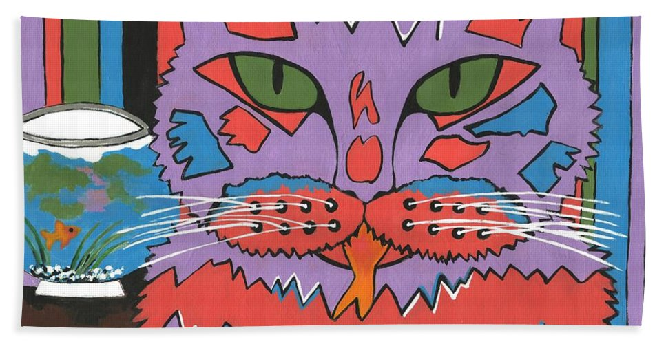 Contemporary Cat Painting Beach Towel featuring the painting Cat Attack by Kathleen Sartoris