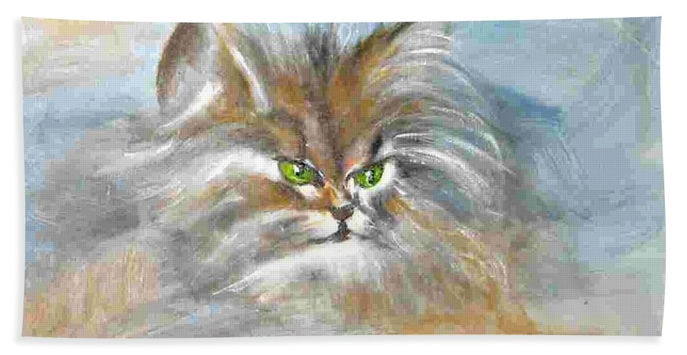 Cat Beach Towel featuring the painting cat by Dragica Micki Fortuna