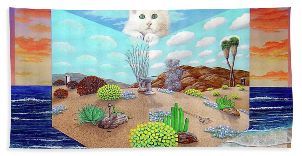 Cat Beach Towel featuring the painting Cat In The Box by Snake Jagger