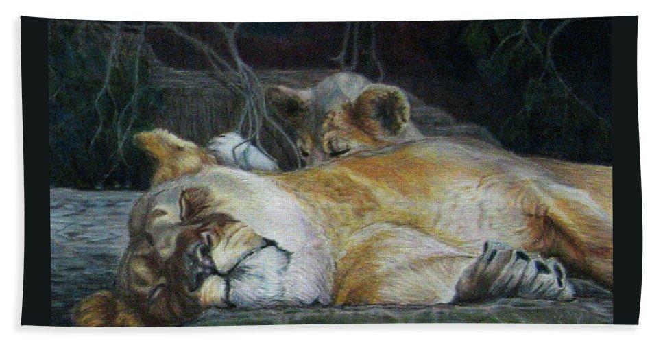 Fuqua - Artwork Beach Towel featuring the drawing Cat Nap by Beverly Fuqua