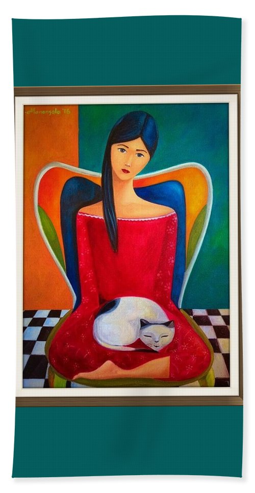 Beach Towel featuring the painting Cat On My Lap by Khristina Manansala