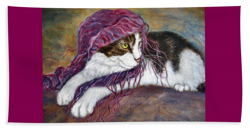 Tortoise Cat Beach Towel featuring the painting Cat Painting Charlie The Pirate by Frances Gillotti