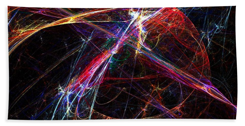 Abstract Digital Painting Beach Towel featuring the digital art Cat Toy by David Lane