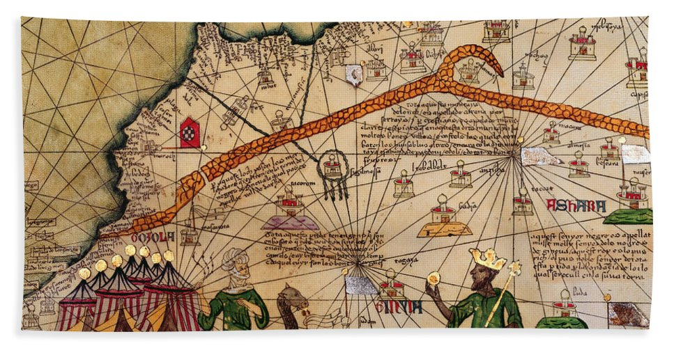 Detail Beach Towel featuring the drawing Catalan Map Of Europe And North Africa Charles V Of France In 1381 by Abraham Cresques