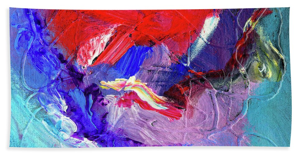 Abstract Beach Towel featuring the painting Catalyst by Dominic Piperata