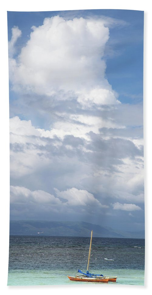 Landscape Beach Towel featuring the photograph Catamaran Beach Clouds by Robert Mcgillivray