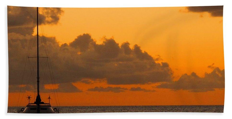 Catamaran Beach Towel featuring the photograph Catarman At Sunset by Ian MacDonald