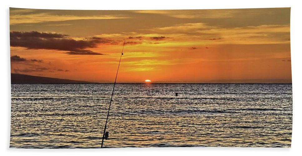 Sunset Beach Towel featuring the photograph Catch Of The Day by DJ Florek