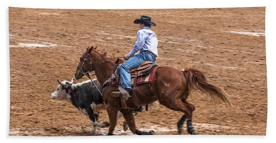 Rodeo Action Beach Towel featuring the photograph Catching Up by Sally Weigand