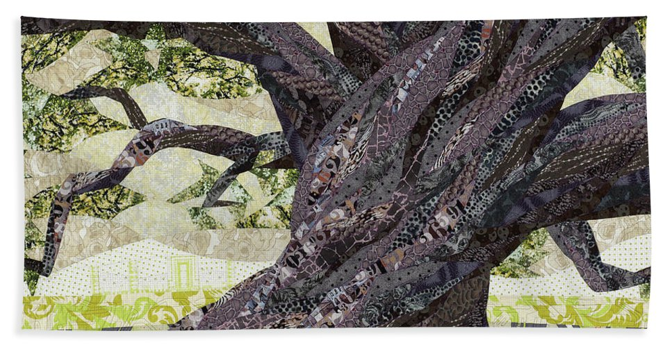 Tree Beach Towel featuring the tapestry - textile Cathedral Oak by Linda Beach