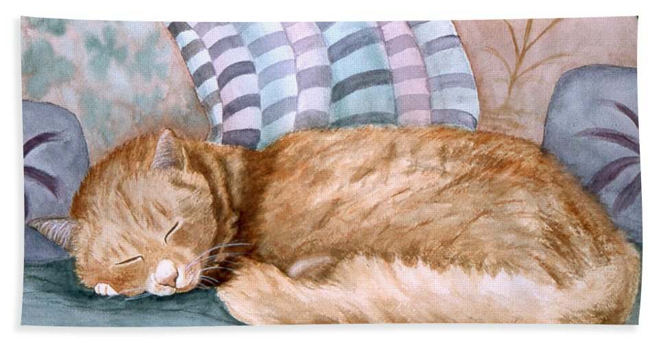 Karen Zuk Rosenblatt Art And Photography Beach Towel featuring the painting Catnap by Karen Zuk Rosenblatt