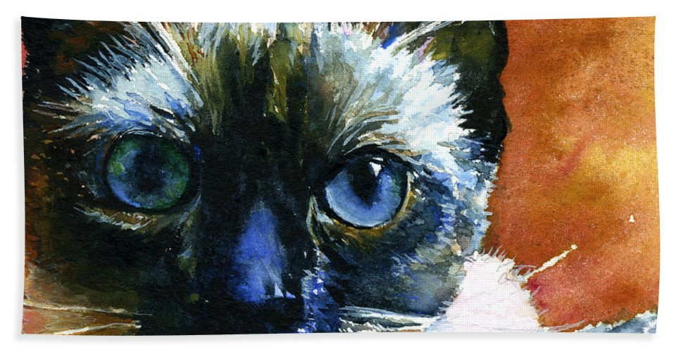 Cats Beach Towel featuring the painting Cats Eyes 13 by John D Benson