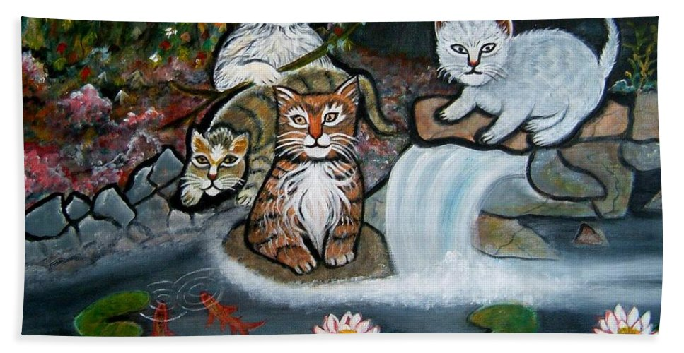 Acrylic Art Landscape Cats Animals Figurative Waterfall Fish Trees Beach Towel featuring the painting Cats In The Wild by Manjiri Kanvinde