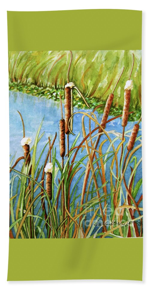 Cattails Watercolor Beach Towel featuring the painting Cattails by Sally Storey Jones