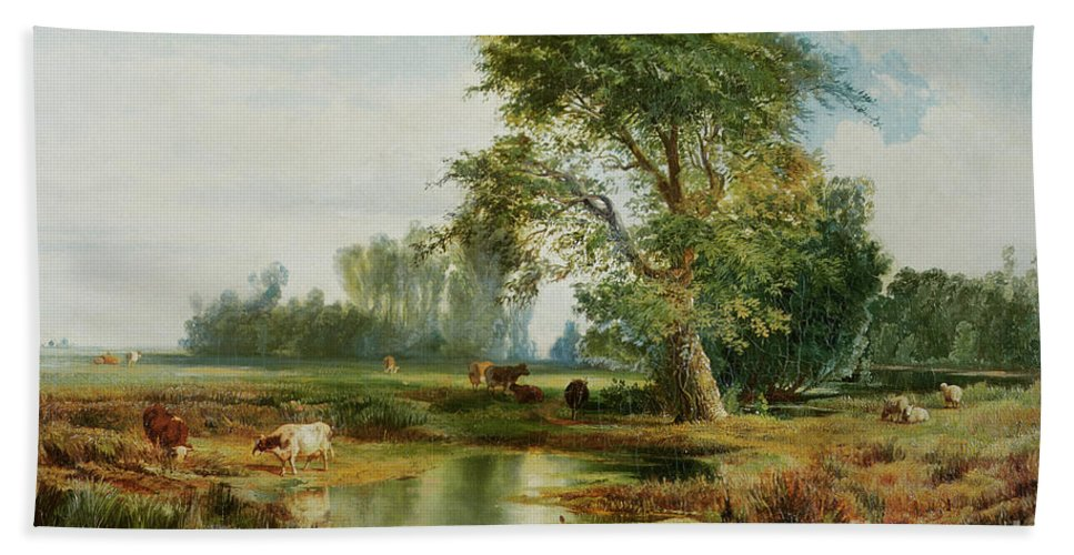 Cattle Watering Beach Towel featuring the painting Cattle Watering by Thomas Moran