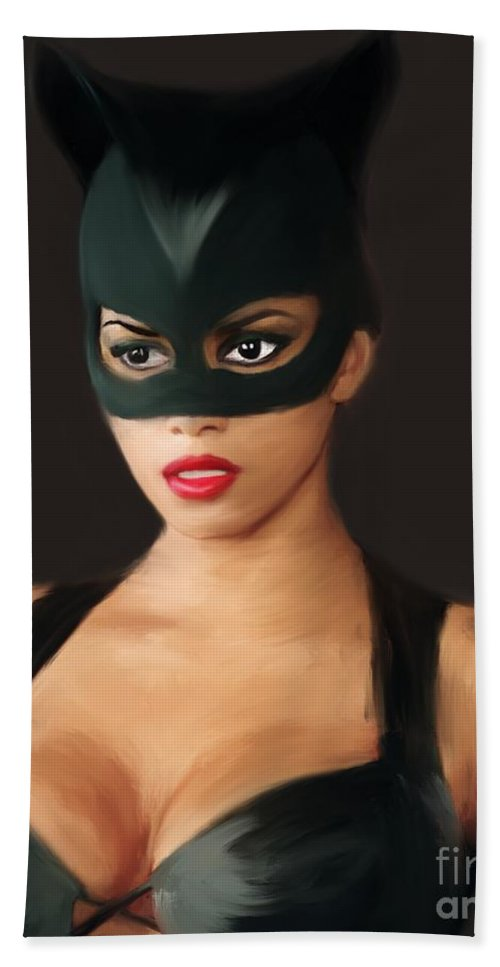 Catwoman Halle Berry Beach Towel For Sale By Jack Bunds