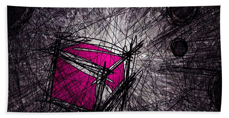 Abstract Beach Towel featuring the digital art Caught In A Web by Rachel Christine Nowicki