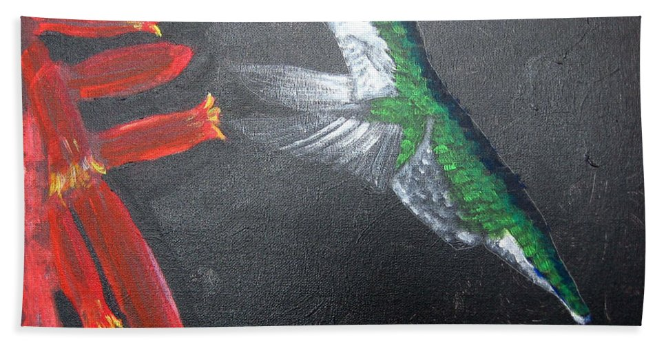Hummingbird Beach Towel featuring the painting Caught In The Flash by Richard Le Page