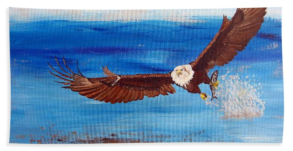 Eagle Beach Towel featuring the painting Caught You by Richard Le Page