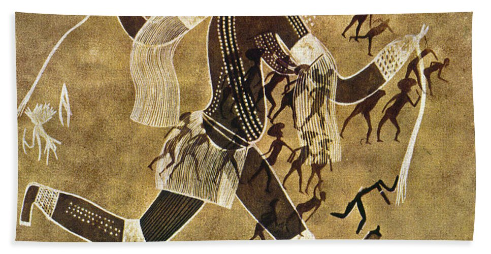 African Beach Towel featuring the photograph Cave Art by Granger