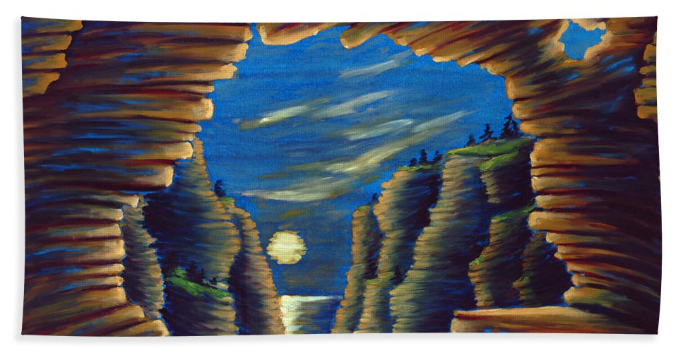 Cave Beach Towel featuring the painting Cave With Cliffs by Jennifer McDuffie