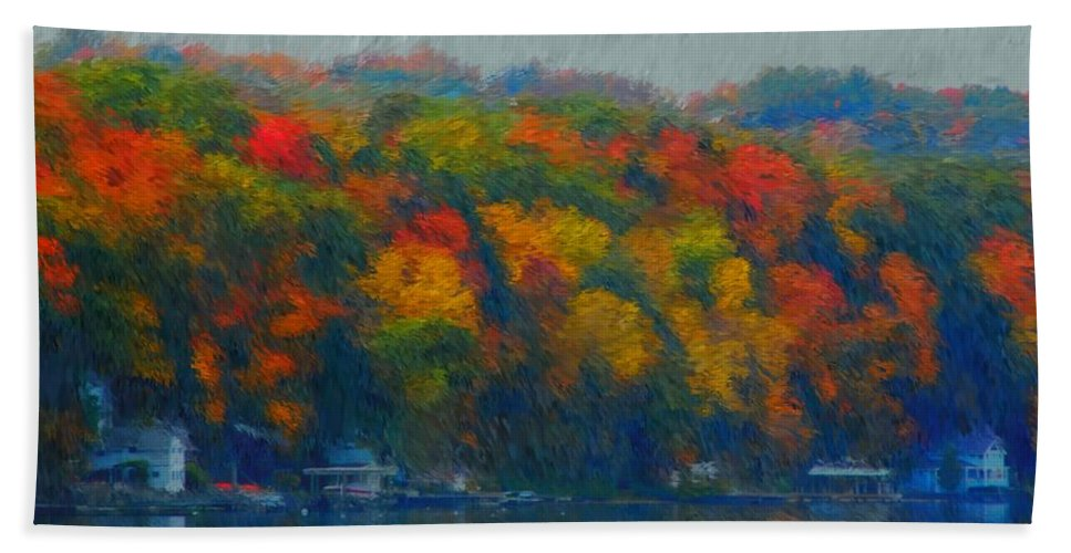 Digital Painting Beach Towel featuring the photograph Cayuga Autumn by David Lane