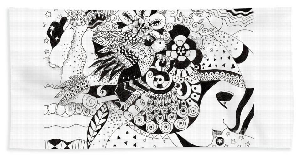 Black And White Ink Drawing Beach Towel featuring the drawing Ceilings And Floors 1 by Helena Tiainen