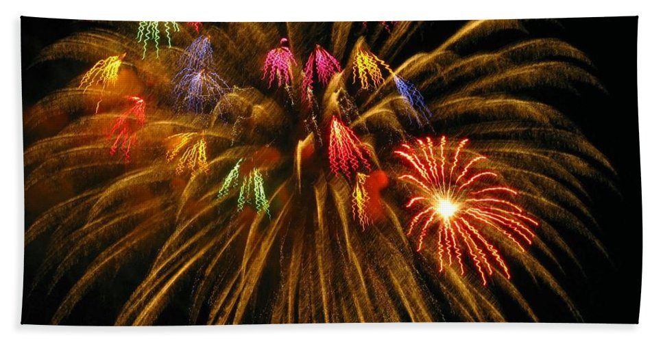 Fireworks Beach Towel featuring the photograph Celebrate by Rhonda Barrett