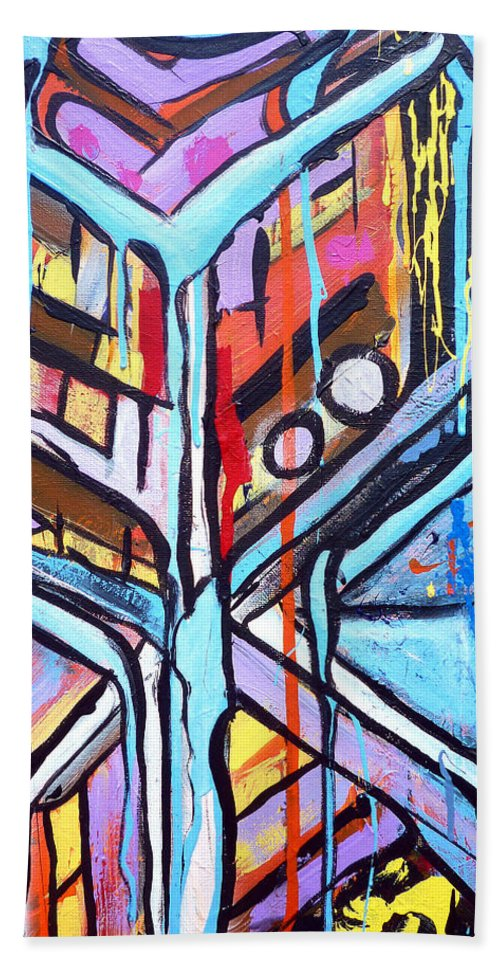 Abstract Beach Towel featuring the painting Celebrating The Future - Left by Larry Calabrese