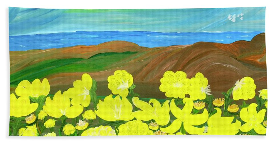 Landscape Beach Towel featuring the painting Celebration by Sara Credito