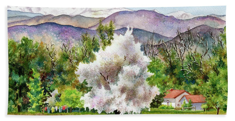 Blossoming Tree Painting Beach Towel featuring the painting Celeste's Farm by Anne Gifford