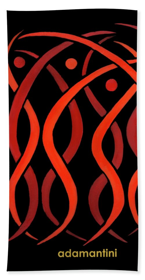 Celestial Flames Beach Towel featuring the painting Celestial Flames by Adamantini Feng shui