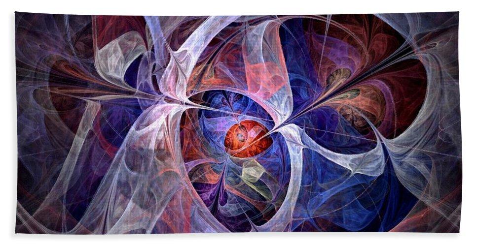 North Star Beach Towel featuring the digital art Celestial North - Fractal Art by NirvanaBlues